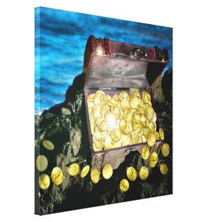 Cofre del tesoro del oro en las rocas lienzo envuelto para galerias