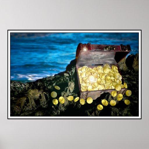 Cofre del tesoro del oro en las rocas posters
