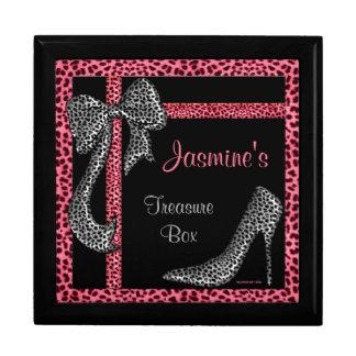 Cofre del tesoro personalizado guepardo rosado joyero cuadrado grande