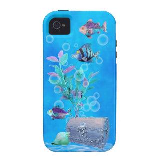 Cofre del tesoro y pescados del bonito en el Case-Mate iPhone 4 fundas