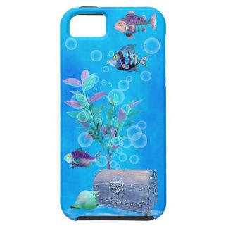 Cofre del tesoro y pescados del bonito en el iPhone 5 carcasa