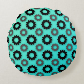 Cog Silhouettes (Teal) Round Pillow