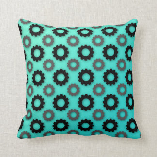 Cog Silhouettes (Teal) Throw Pillow