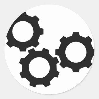 cog wheel icon classic round sticker