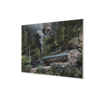 Cog Wheel Train Climbing Up Stretched Canvas Prints