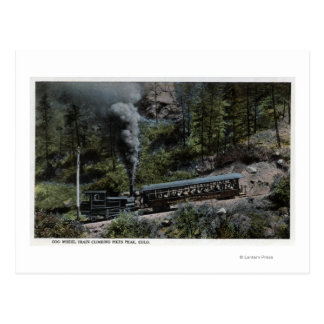 Cog Wheel Train Climbing Up Postcard