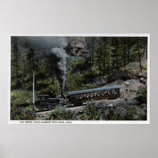 Cog Wheel Train Climbing Up Poster