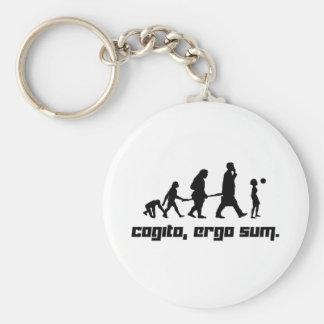 Cogito, ergo sum. basic round button keychain