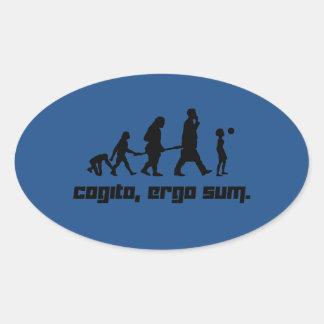 Cogito, ergo sum. oval sticker