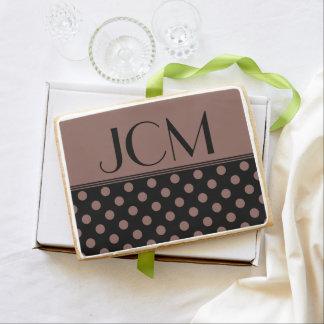 Cognac Brown/Black Polka Dot Monogram Jumbo Cookie
