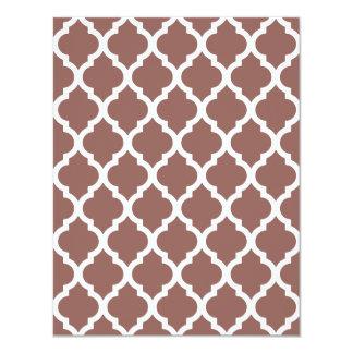 Cognac Brown Moroccan Tile Trellis 4.25x5.5 Paper Invitation Card