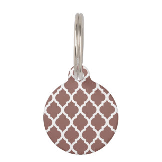 Cognac Brown Moroccan Tile Trellis Pet Nametags