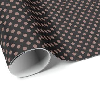 Cognac Brown on Black Polka Dot Gift Wrap Paper