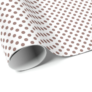 Cognac Brown on White Polka Dot Wrapping Paper