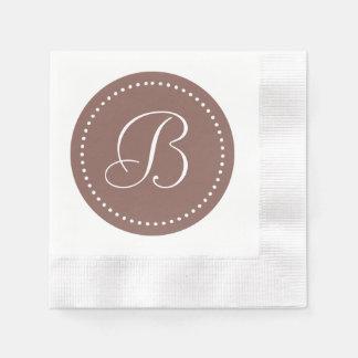Cognac Brown/White Dot Monogram Disposable Napkin