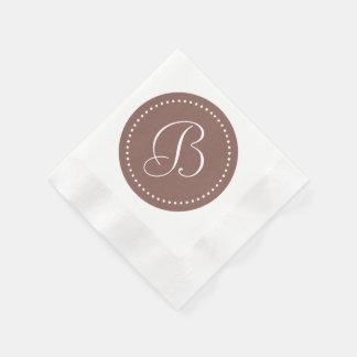 Cognac Brown/White Dot Monogram Paper Napkins