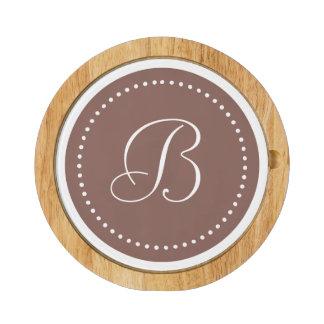 Cognac Brown/White Dot Monogram Round Cheese Board