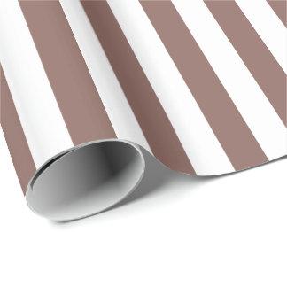 Cognac Brown/White Stripe Gift Wrap