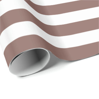 Cognac Brown/White Stripe Gift Wrapping Paper