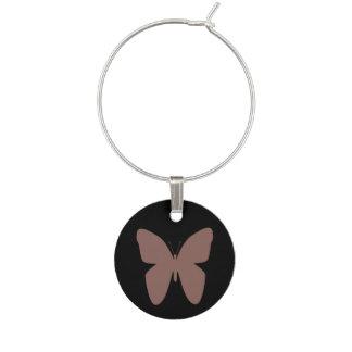 Cognac Butterfly Wine Glass Charm