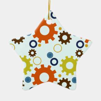 Cogs and Gears (Orange and Blues) Ornament