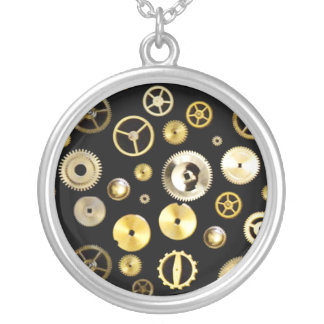 Cogs and Gears Round Pendant Necklace