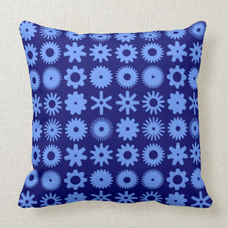 Cogs - Baby Blue on Deep Navy Throw Pillow