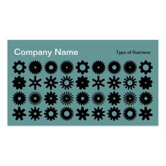 Cogs - Black on Ocean Green Business Card