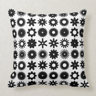 Cogs - Black on White Throw Pillow