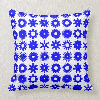 Cogs - Blue on White Throw Pillow