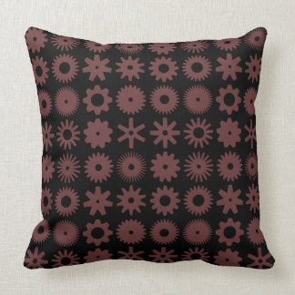 Cogs - Brown on Black Throw Pillow