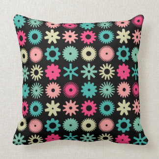 Cogs - Colors 01 on Black Throw Pillow