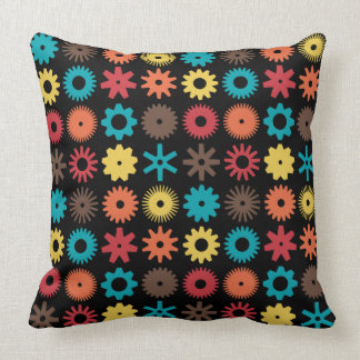 Cogs - Colors 02 on Black Throw Pillow