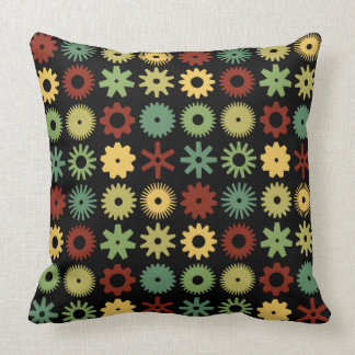 Cogs - Colors 03 on Black Throw Pillow