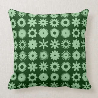Cogs - Faded Green on Dark Forest Green Throw Pillow