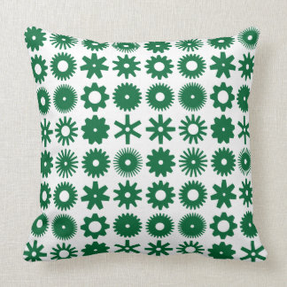 Cogs - Forest Green on White Throw Pillow