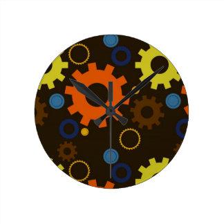 Cogs & Gears (Orange on Brown) Wall Clock