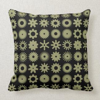 Cogs - Khaki on Black Throw Pillow