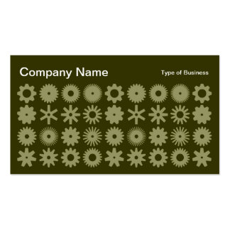Cogs - Khaki on Dark Olive Business Card