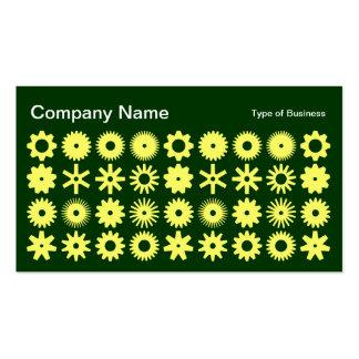 Cogs - Lemon on Dark Forest Green Business Card