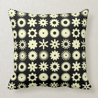 Cogs - Pale Yellow on Black Throw Pillow