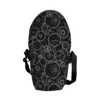 Cogwheels pattern courier bag
