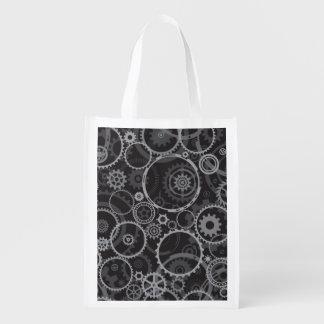 Cogwheels pattern reusable grocery bag