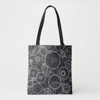 Cogwheels pattern tote bag