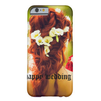cohesión, boda, flores, pelo, pelo rojo, ro rojo funda barely there iPhone 6