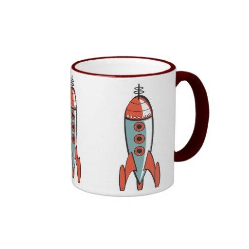 cohete de espacio retro, cohete de espacio retro, taza a dos colores