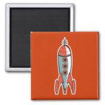 cohete de espacio retro iman para frigorífico