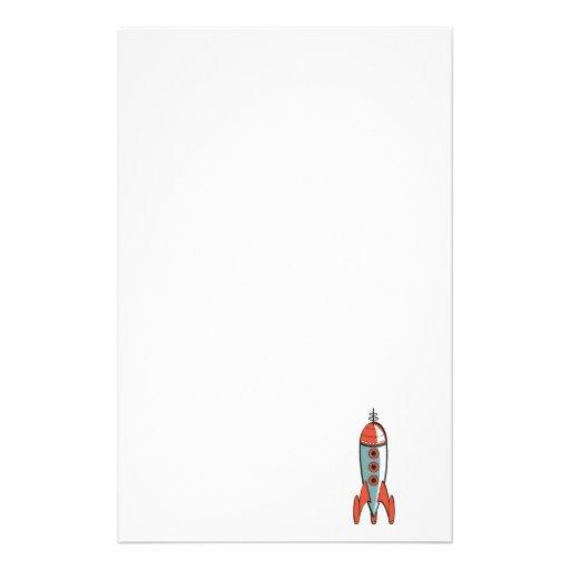 cohete de espacio retro papeleria personalizada