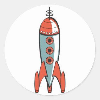 cohete de espacio retro pegatinas redondas