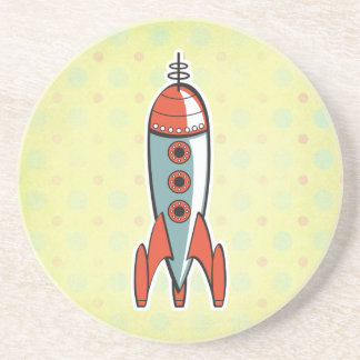 cohete de espacio retro posavaso para bebida